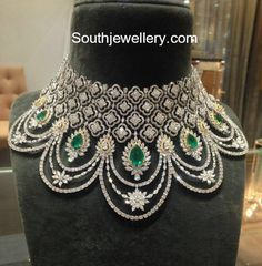 Jewelry Set Inspiration for pattern of the necklace. I don't need it to be this detailed at all. Just the essence. W/ Aquamarine stone. Diamond Necklace Set, Diamond Bracelets, Diamond Jewelry, Cartier Bracelet, Bridal Jewelry, Silver Jewelry, Jewlery, Silver Rings, Gold Jewellery Design