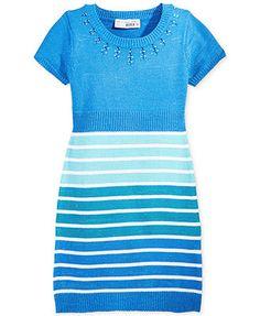 Planet Gold Girls' Striped Embellished Sweater Dress, pink/coral or blue option
