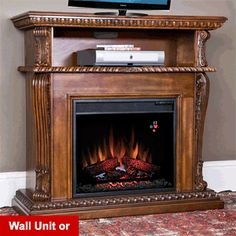 Real Flame Calie Tv Stand W Ventless Electric Fireplace
