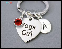 SWAROVSKI / INITIAL / YOGA Girl Key Ring  by OhValentinaJewelry
