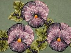 Image result for arts and crafts era embroidered pansies