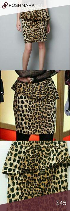 Zara Woman Leopard Animal Print Peplum Skirt Med Zara Woman Leopard Animal Print Peplum Skirt Medium Zara Skirts Midi
