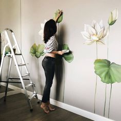Home Decor Accessories Wall Painting Decor, Mural Wall Art, Creative Wall Painting, Bedroom Murals, Bedroom Wall, Wall Drawing, Paint Designs, Home Decor Accessories, Inspiration