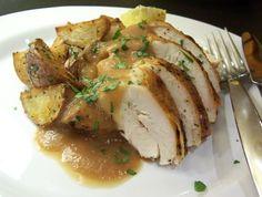 ROAST CHICKEN WITH MEYER LEMON & ROASTED SHALLOT GRAVY - sounds heavenly, esp. the roasted shallot gravy.