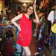 Alexia looks darling in her mod dress she just scored off our sale rack!