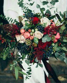 navy, burgundy and greens wedding bouquet eucalyptus leaves, roses, peonies