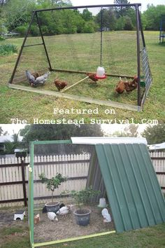 Re Purposed Swing Set Chicken Coop DIY Project http://thehomesteadsurvival.com/purposed-swing-set-chicken-coop-diy-proje...