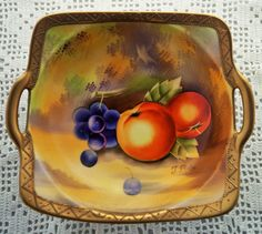 A sumptious porcelain bowl beautifully hand painted with rich fruits. Signed by J Baba. Edged in patterned gold. A fabulous cabinet piece. by Alexsprettyvintage on Etsy