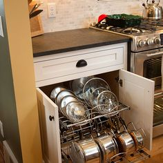 new pots and lids drawer in kitchen remodel Cabinet Companies, Custom Cabinets, Kitchen Cart, Countertops, Kitchen Remodel, Pots, Drawers, Flooring, Design