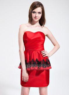 Sheath/Column Sweetheart Short/Mini Taffeta Cocktail Dress With Lace Cascading Ruffles (016025379) - JJsHouse