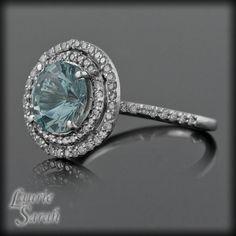 Round Aquamarine and Diamond Double Halo Ring - March Birthstone - LS1533 on Etsy, $2,196.00