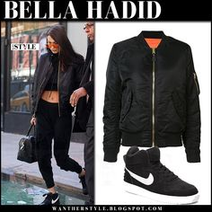 Bella Hadid in black bomber jacket alpha industries and nike court borough sneakers