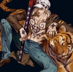 Anime picture with one piece toei animation trafalgar law emg (christain) single looking at viewer light erotic simple background sitting yellow eyes open clothes collarbone tattoo fingernails open jacket black muscle male weapon sword Trafalgar Law, Sunny Go, One Piece Images, 0ne Piece, Monkey D Luffy, Nico Robin, One Piece Manga, Cartoon Characters, Anime Manga