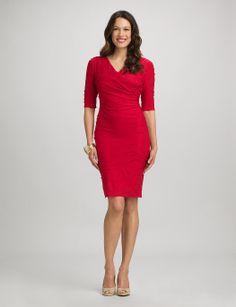 Misses   Dresses   Textured Surplice V-Neck Dress   dressbarn