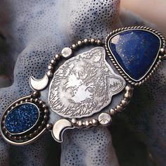 Dreams Lost in Water - Silversmithed Wolf Ring. Lapis Lazuli Ring. Silversmithed Necklace. Made to Size Ring.