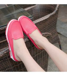 Women's #red easy leather slip on shoe #loafers, hollow out, check, Round toe design , casual, leisure occasions.