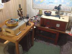 These are my faceting machines which are also in my lapidary and faceting studio. Both these machines are quite old but I\'ve made some modifications to them to bring them more up to date to suit my own needs.