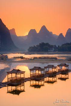 """ღღ """"Into Tranquility"""" ~~ Absolute calm over Li Jang River, Guangxi, China."""