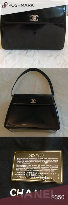 Authentic Chanel Patent Leather Purse Beautiful vintage Authentic Chanel Patent Leather Purse. Previous Posh Purchase that was authenticated. Perfect for a night on the town or on a date. Comes with Authenticity card, care instructions and dust cloth. Is slightly sticky to the touch in some areas may just need to be cleaned... which reflects in the great low price. CHANEL Bags
