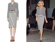Perfection and I have this skirt!  : Sienna Miller wearing an Altuzarra stripe silk shirt & an Altuzarra blanket 'Arcadia' side...