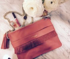 Coral pochette with silk fringes - by Buboisé Fringe Collection