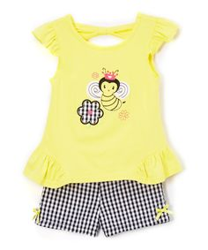 Take a look at this Nannette Girl Yellow Bumble Bee Top & Shorts Set - Infant today!