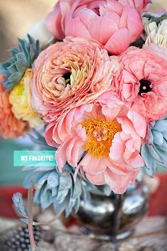 Favorite flowers? Peonies, ranunculus, anemones, poppies, and garden roses. I love the use of dusty miller & kumquats.