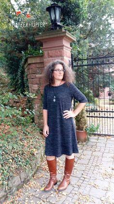Schnittmuster / Ebook lillesol women No.22 Jerseykleid mit Uboot-Ausschnitt / Nähen Kleid Pullover / sewing pattern Jersey dress with Submarine - Neck