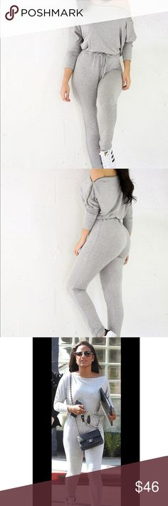 Chill jumper Chill jumper with top that can be worn different ways. Drawstring waist. Poly/rayon/spandex blend. Great stretch. True to size Pants Jumpsuits & Rompers