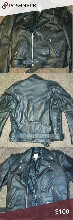 "VINTAGE THICK LEATHER MOTORCYCLE JACKET-SIZE 44 -Heavy Duty Leather Motorcycle Jacket -Size 44 -Made by BB Leather Products -Thick Leather , very protective -Shoulder width: 22"" -Shoulder to bottom hem: 25"" -Waist: 22"", but the sides can be adjusted to make bigger or smaller -Belt at waistline -Three 6"" zippered pockets in front -4""x6"" snapped closure pocket in front -Inside jacket there's a 6"" wide pocket -On each sleeve, at the wrist there's a 7"" zipper -Extremely well made -There's…"