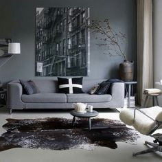 Comfortable, rustic room with sofa with grey velvet...  Living room  Pinterest