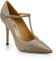 45a20dac6946d Salvatore Ferragamo Nalia Leather & Suede T-Strap Pumps - ShopStyle Heels