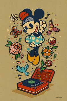 """Great series of Disney characters illustrated by California-based artist Dave Quiggle for the WonderGround Gallery in the Downtown Disney® District at the Disneyland® Resort. """"Dave Quiggle offers both creative whimsy and intellectual depth in equal measure, executing concepts culled from a small-town upbringing filled with monster magazines, comic books and cartoons. His work strikes a chord of electric connectivity for likeminded folks seeking an escape from realism through the la..."""