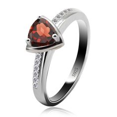 2016 New Pure Stone Trillion Pink Garnet Engagement Rings Halo Ring For Girls Strong 925 Sterling Silver High-quality Jewellery Wholesale - Silver Jewellery 925 - SHOP NOW