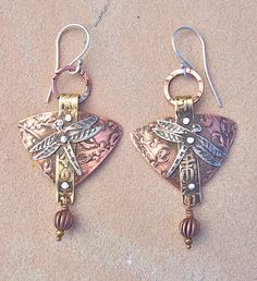 Dragonfly Earrings  Etched copper, bronze and german silver.  Lesley Aine Mckeown - www.lesleyainemckeown.com