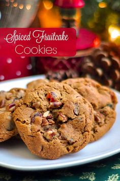 Dark Fruitcake Cookies - spiced fruitcake flavor in a crispy chewy cookie! The flavour of a traditional molasses and spice dark fruitcake translated into a crispy chewy cookie. Even self professed fruitcake haters loved these! Holiday Baking, Christmas Baking, Cookie Recipes, Dessert Recipes, Fruit Cake Cookies Recipe, Salad Recipes, Rock Recipes, Fruitcake Cookies, Cupcakes