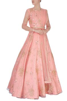 Shop Shlok Design - Light pink sequin embroidered anarkali gown Latest Collection Available at Aza Fashions