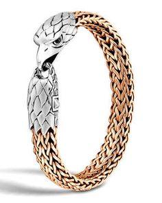 Gold Chains For Men John Hardy Men's Silver/Bronze Eagle Head Chain Bracelet - John Hardy bronze chain bracelet. Handcrafted in Bali. Gold Chains For Men, Bracelet Cuir, Bracelet Men, Silver Man, Silver Necklaces, Silver Jewelry, Silver Rings, Bracelets For Men, Neiman Marcus