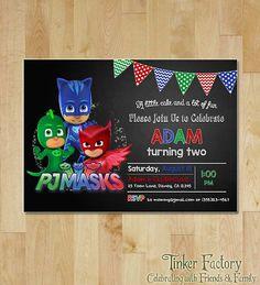 PJ Masks Birthday Party Invitation   Digital File by TinkerFactory