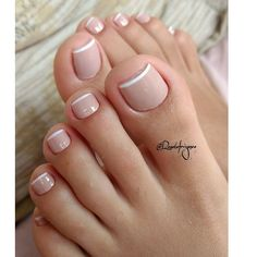 Pin by Melissa Prosper on Toe nails in 2020 Gel Toe Nails, Feet Nails, Toe Nail Art, Pretty Toe Nails, Cute Toe Nails, Pretty Toes, French Gel, French Nails, French Pedicure