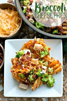 Loaded Broccoli Cheese Fries: a fast family dinner recipe OR game day recipe that everyone is sure to love. These fries are topped with family favorites like broccoli, cheddar cheese, chicken, bacon, and ranch dressing for dipping! | Easy Dinner Recipe | Easy Game Day Recipe