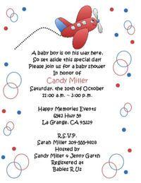 Red Airplane Baby Shower Invitations -- Keepsake Imprints Online Store