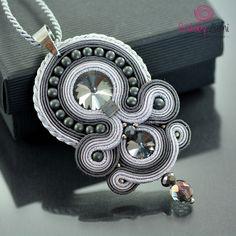 Soutache Diamond Necklace, Graphite Pendant, Silver Crystal Pendant,Gray Statement Necklace, Gray Hematite Ethnic Pendant, Collier Soutache by OzdobyZiemi on Etsy