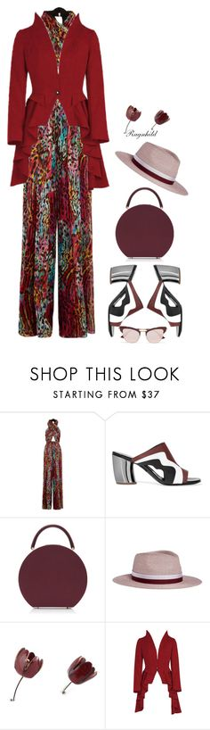 """Burgundy with Mules"" by ragnh-mjos ❤ liked on Polyvore featuring Matthew Williamson, Proenza Schouler, BUwood, Maison Michel and Le Specs"