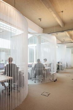 ZAmpone creates BBDO office inside century-old wine warehouse in Brussels - Arbeitsplatz Interior Work, Office Interior Design, Corporate Interiors, Office Interiors, Office Screens, Office Dividers, Agency Office, Cool Office Space, Open Office