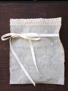linen bag with cotton lace trim