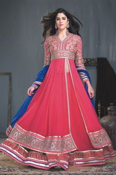 Stylish Red Georgette Long Anarkali Salwar Suit