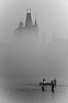 The Vltava River under the fog - Prague.love this photo and would love to visit. So very foggy. Places To Travel, Places To See, Beautiful World, Beautiful Places, Prague Photos, Photocollage, Belle Photo, Black And White Photography, Wonders Of The World