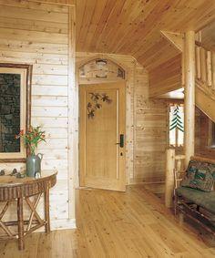 Rustic pine walls idea
