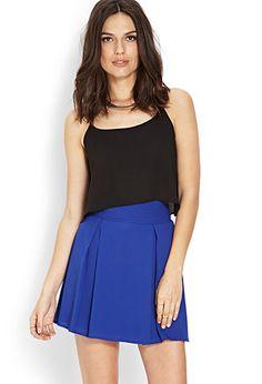 Blue Pleated Sash Skirt | FOREVER21 - 2000107423 $13